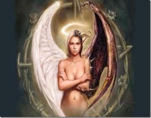 Meio anjo, meio demônio.