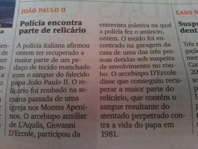 """Notícia publicada em """"A Gazeta"""" do ES."""