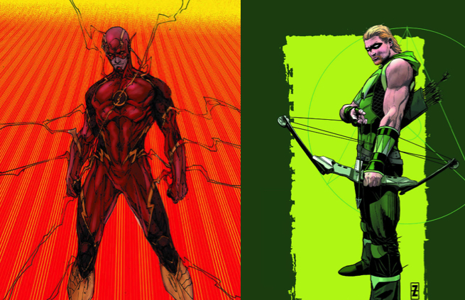 Green-Arrow-and-Flash-costume-changes